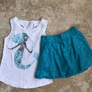 Justice mermaid outfit scooter skirt and tank